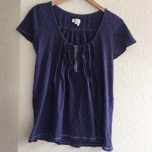 Anthropologie Meadow Rue ruffled Cotton shirt